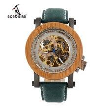BOBO BIRD Marque De Luxe Hommes Montres Mécaniques de Bambou Bois Montres Véritable Bracelet En Cuir relogio masculino Bois Montre Boîtes K13