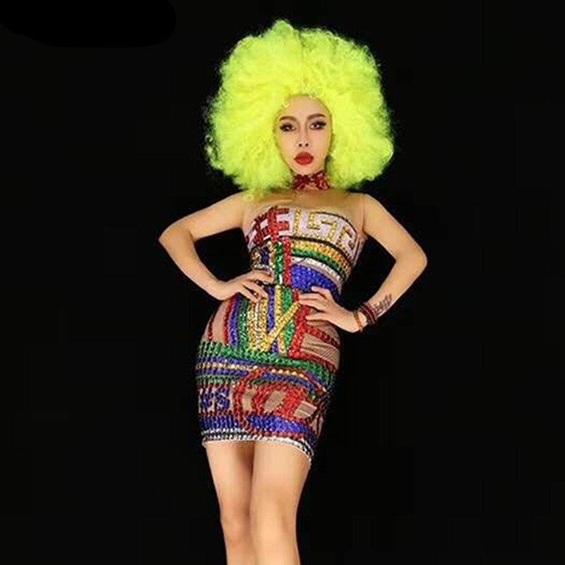 Femmes nouveau multicolore brillant strass robe serrée Sexy mode Stretch robe courte fête d'anniversaire porter chanteur scène Costume