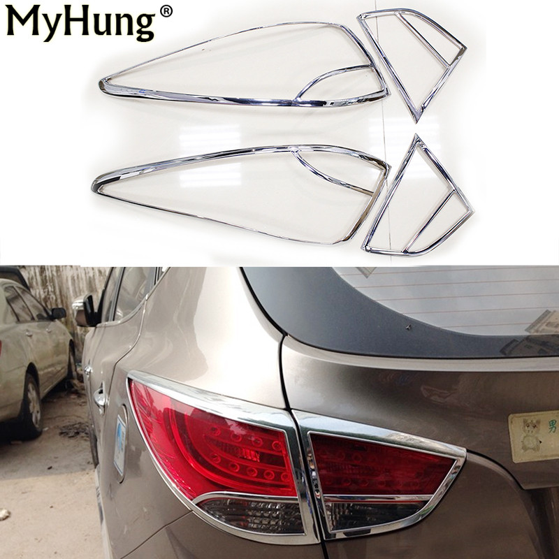 Car Rear back lamp cover Tail light Molding Lid Cover for Hyundai Tucson IX35 2009 2010 2011 2012 2013 ABS Chrome 4pcs per set rear fog lamp spare tire cover tail bumper light fit for mitsubishi pajero shogun v87 v93 v97 2007 2008 2009 2010 2011 2012 2015