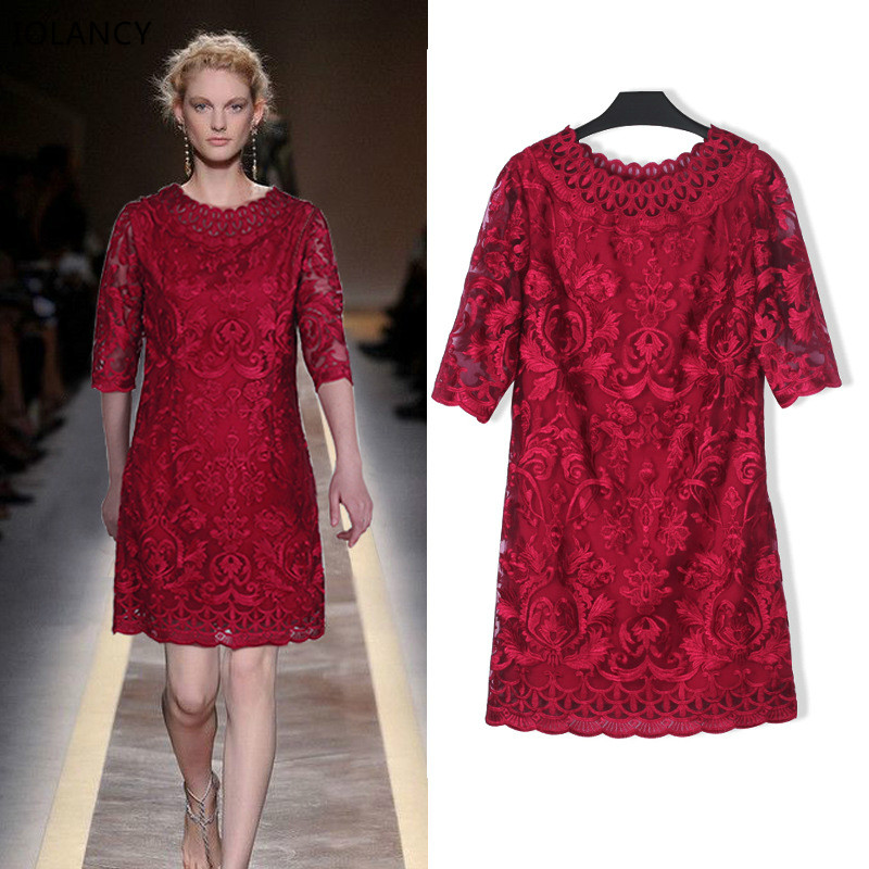High Quality Heavy Embroidery Lace Embroidered Dress Pregnancy Women Large Size Dresses 2017 New Maternity Clothes L-5XL CE954