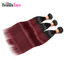 Fashion Lady Pre-Colored Ombre Peruvian Straight Hair 3 Bundles 1B/99j  Human Hair Bundles 100% Human Hair Weaving Non-remy