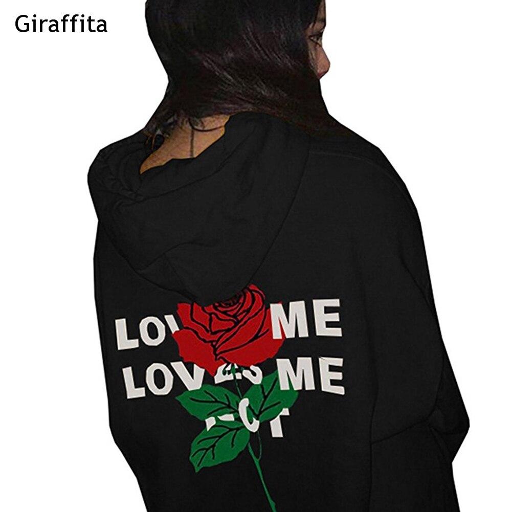 Rose Hoodie Woman Letter Rose Printing Pocket Women Skull Top Youth Drawstring Streetwear Women Pullovers Hoodies