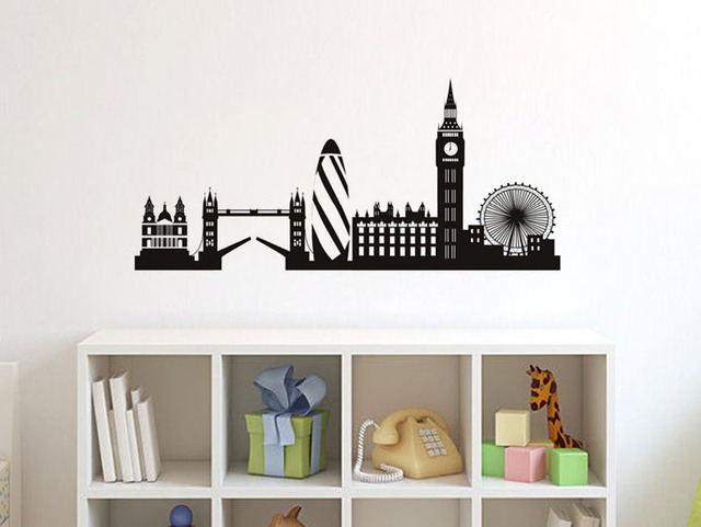 High quality morden city silhouette wall sticker london big ben bell vinyl wall decal living room