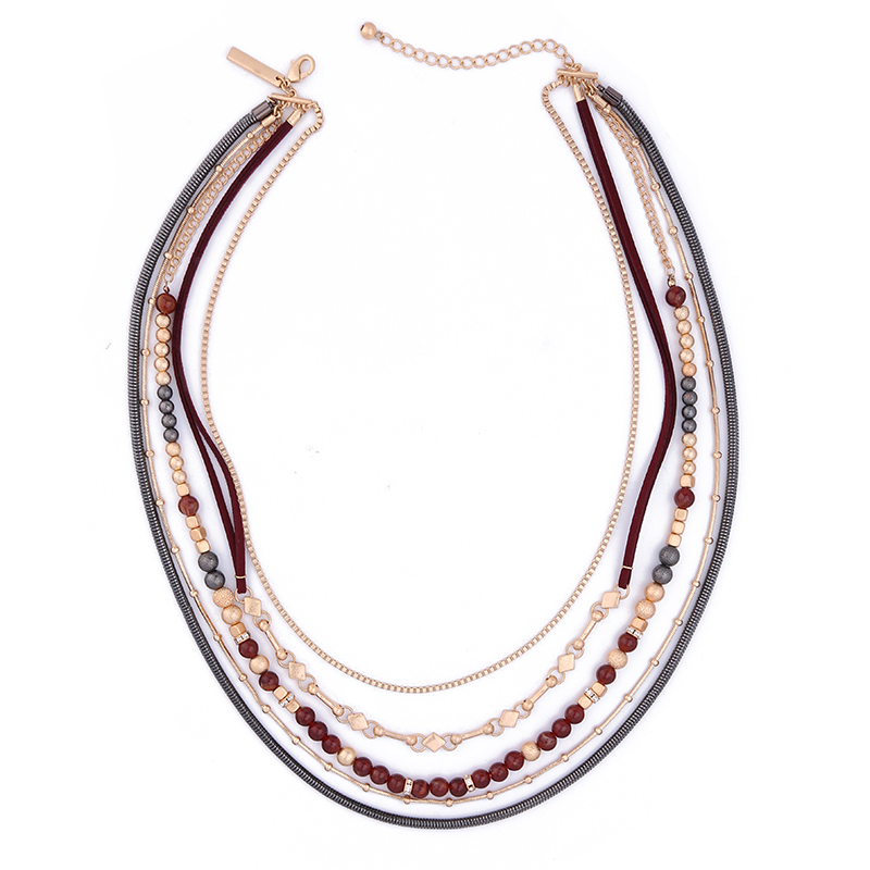Acrylic Beads Layered Multichain Necklace Jewelry Fashion Exaggerated Maxi Statement Necklace for Women