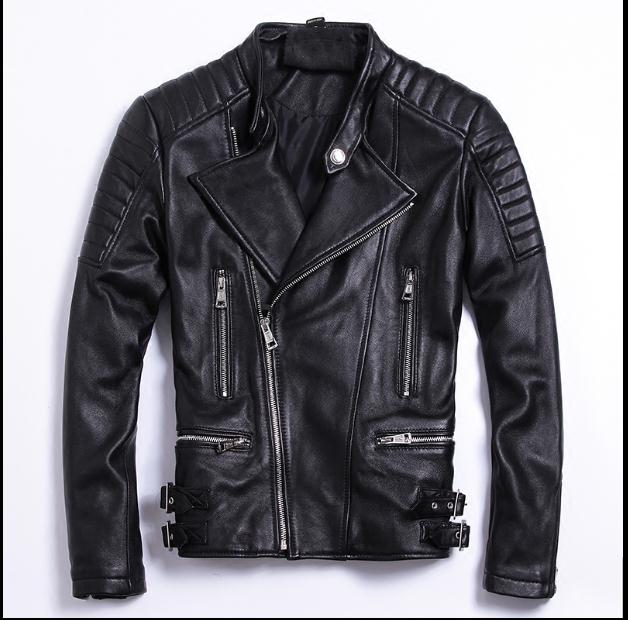 Free shipping.moto biker style,Plus size Brand soft sheepskin leather Jackets,mens genuine Leather jacket.motorbiker slim coat,