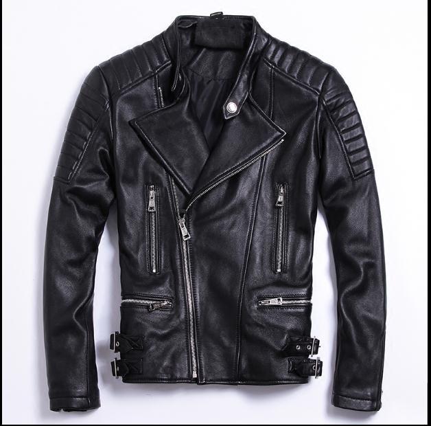 Free Shipping.moto Biker Style,Plus Size Brand Soft Sheepskin Leather Jackets,mens Genuine Leather Jacket.motorbiker Slim Coat,