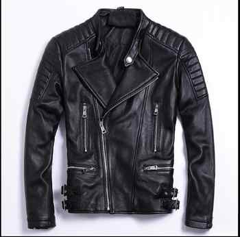 Free shipping.moto biker style,Plus size Brand soft sheepskin leather Jackets,mens genuine Leather jacket.motorbiker slim coat, - DISCOUNT ITEM  9% OFF All Category