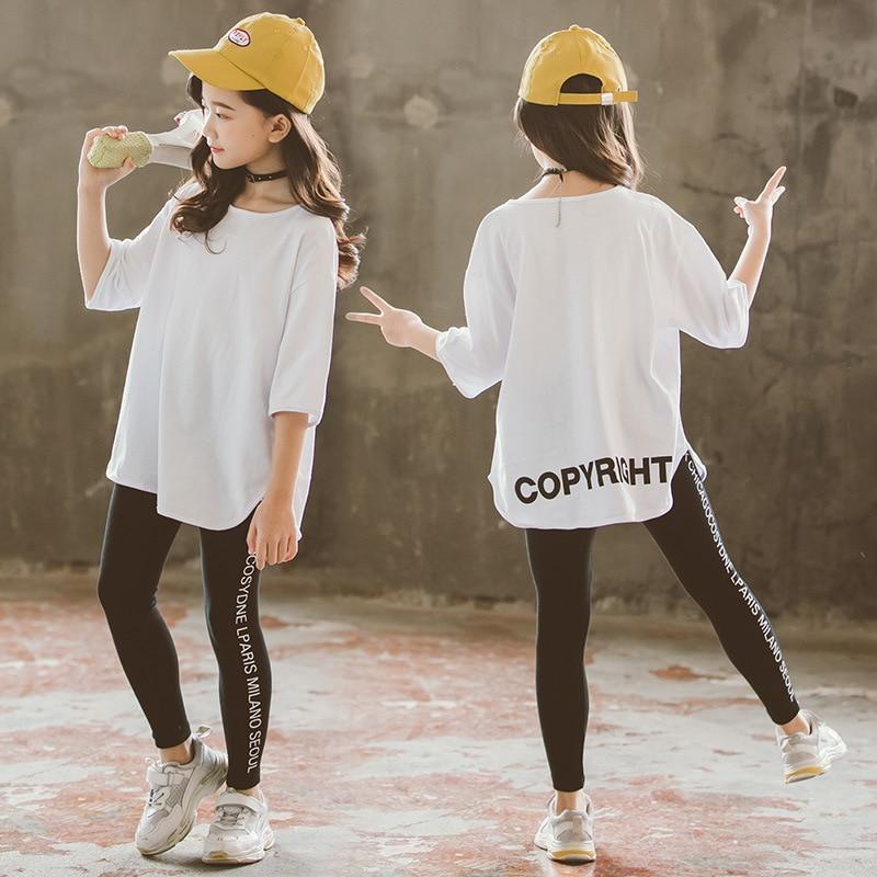 Girls T Shirt 2019 Spring Long Sleeve O-neck Undershirt Girls White T shirt for Girls Tops Tees Kids Clothes Children 10 12 Year