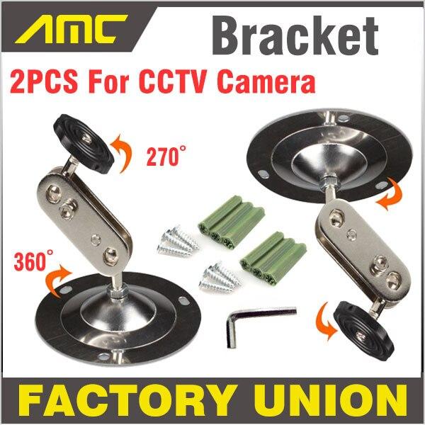 2PCS Wall Mount Support CCTV Bracket 360 Degree Horizontal Angle installation Security Camera Bracket For CCTV Camera