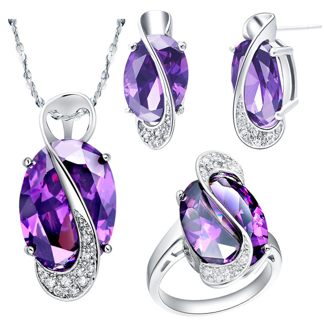 Conjuntos de jóias para as mulheres da moda jóias banhado a ouro colares anéis brincos de prata 925 Ametista Conjuntos De Jóias de Noiva