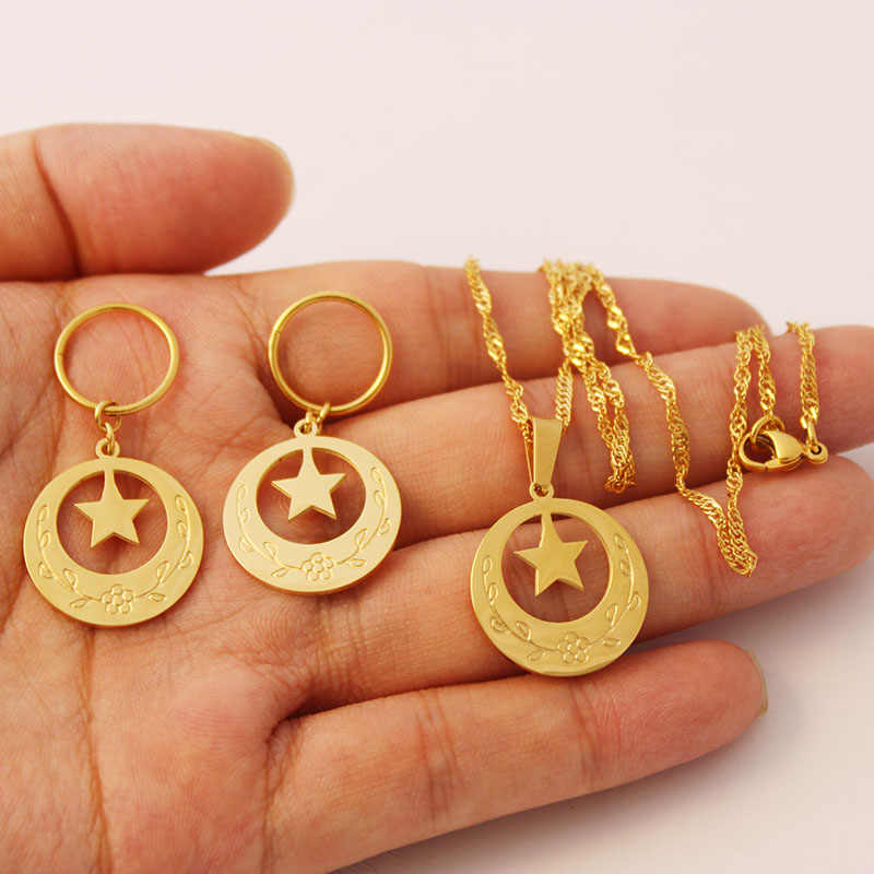 Stainless Steel Gold Star Shape Marshall Pendant Necklaces Earrings Jewelry sets for Woman Micronesia Jewellery Gift