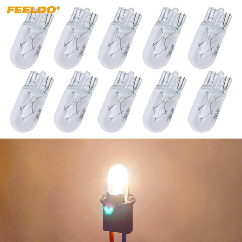 FEELDO 10PCS Car T10 168 192 Wedge 12V 5W Halogen Bulb External Halogen Lamp Replacement Dashboard Bulb Light #HQ2109