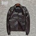 Chaquetas de la motocicleta chaqueta de cuero genuino 100% de piel de vaca 2 bolsillos decor veste cuir homme cappotto LT855 Envío gratis