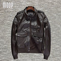 Genuine leather jacket coat 100%cowskin motorcycle jackets 2 patch pockets decor veste cuir homme cappotto LT855 Free shipping