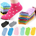 Women Socks Solid Candy Color Dot Sock  Casual Cute Heart Ankle High Low Cut Cotton Socks 10 Colors Free Shipping A1