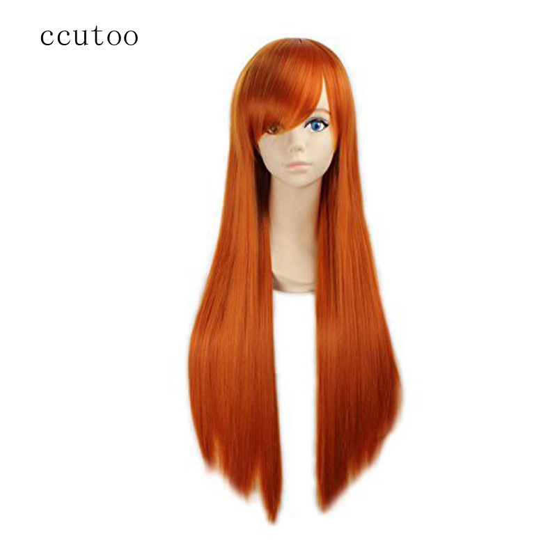 "ccutoo 80cm/32"" Orange Long Straight Synthetic Eva Neon Genesis Evangelion Asuka Langley Soryu Cosplay Full Wigs(China)"