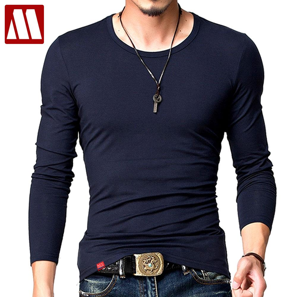 Hot 2017 new spring fashion brand o neck slim fit long for Long sleeve fitted tee shirt