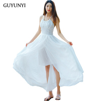 GUYUNYI Summer Sexy Maxi Women Evening Party Dress Vintage Long Beach Boho White Chiffon Dresses vestidos de festa CX970