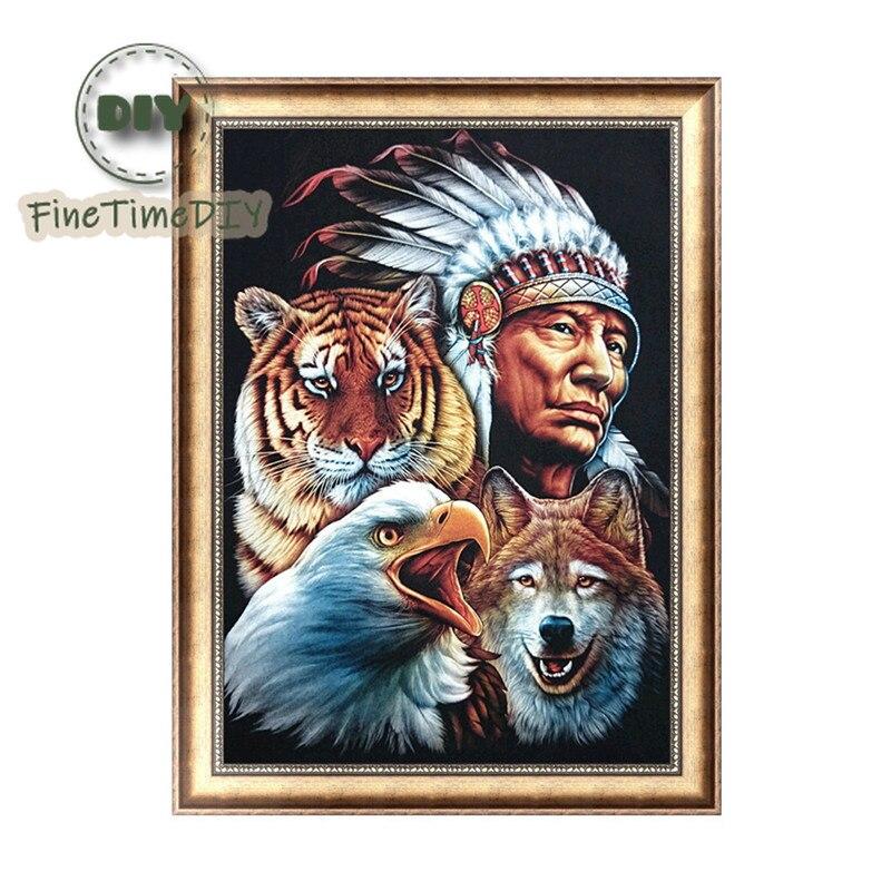 FineTime 5D diy Full diamond cross-stitch characters tiger Wolf eagle diamond embroidery Mosaic home decoration giftsFineTime 5D diy Full diamond cross-stitch characters tiger Wolf eagle diamond embroidery Mosaic home decoration gifts