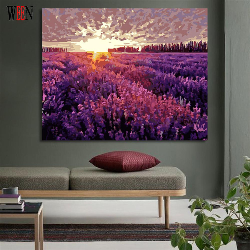 WEEN Digital Lavender Garden Pictures to draw Paint By Numbers Canvas Art DIY Handpainted Coloring Wall Kit For Living Room Gift in Painting Calligraphy from Home Garden