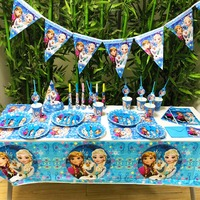 78pcs/set DISNEY Frozen Freezing Anna Elsa Snow Princess Kids Birthday Party Supplies Girls Cartoon Figure WeddingDecoration