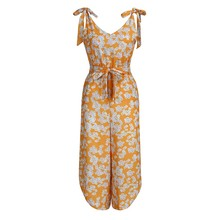 New Women's Deep V Sleeveless jumpsuit Yellow Printed Shoulder Bandage Waistband V-Neck Jumpsuit