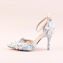 2018 Spring Blue Lace Flower Bridal Shoe White Pearl Diamond Rhinestone Wedding Shoes Pointed High Heel Sandals For Ladies