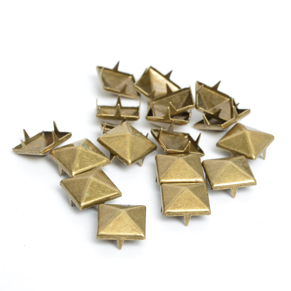 100pcs 10mm Antique Brass Pyramid Studs Nailheads Rivet Spike Leather Craft Bracelets Clothes