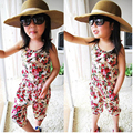2017 girls summer floral pattern jumpsuits kids children overalls trousers free shipping