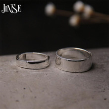 JINSE 2017 Smooth Couple Adjustable Engagement Rings 100% Real S999 Sterling Silver Ring Fine Jewelry Wholesale For Men Women