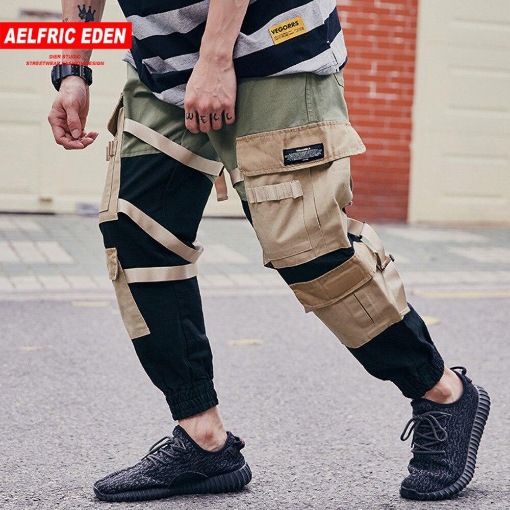 Aelfric Eden Повседневное Штаны Для мужчин 2018 шаровары пот Штаны Цвет блока лоскутное ленты боковые карманы джоггеры модные штаны UR01