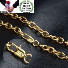 OMHXZJ Wholesale Personality Fashion OL Woman Girl Party Wedding Gift Gold 8MM Circles Chain 18KT Necklace NC154
