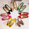 Suede Thin High Heeled Shoes Women Office Shoe Red Bottom Pumps Black Red Pink Nude Yellow Green Spring Candy Colors Career Pump