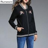 Autumn Winter Jacket Symmetric pattern Embroidery Insert pocket zipper full Sleeve Women Clothes Spring Tops Overclothes Coat