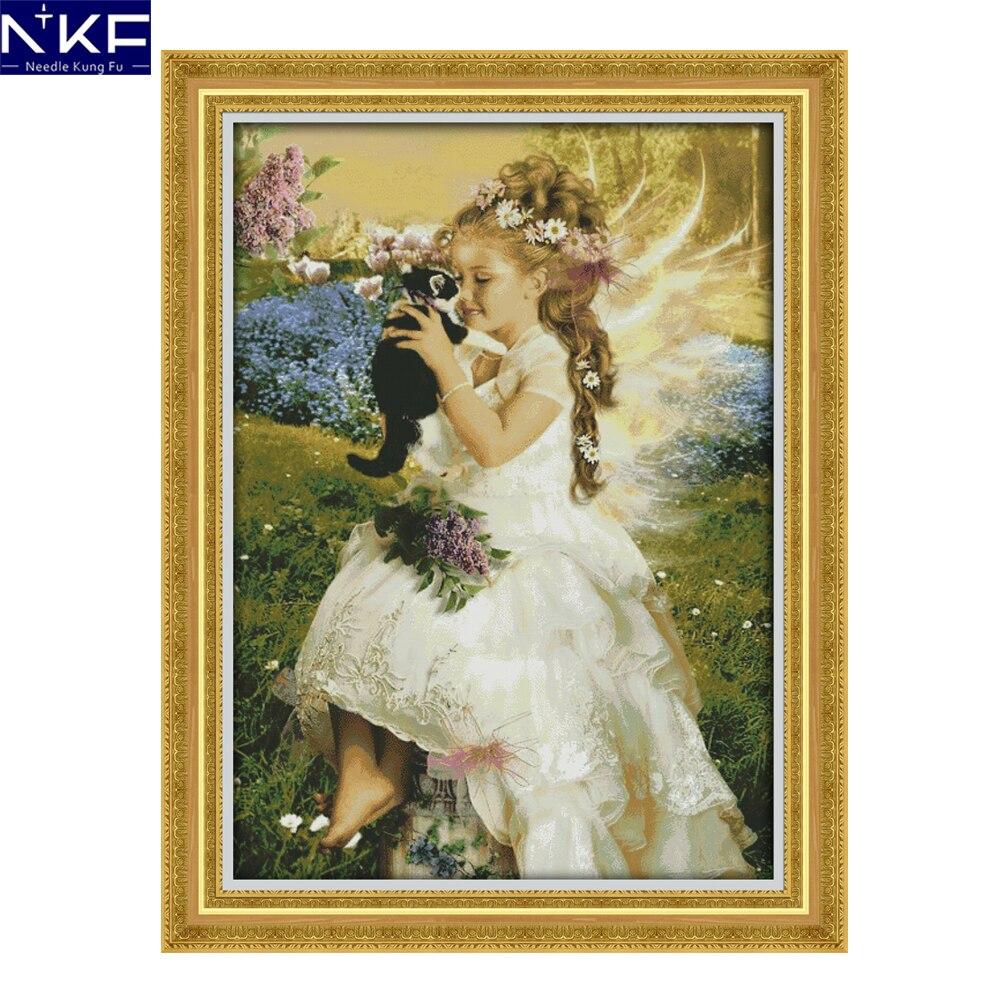 NKF la fille tenant le chat point de croix Kits broderie estampillé Kits point de croix couture fait à la main point de croix chinois