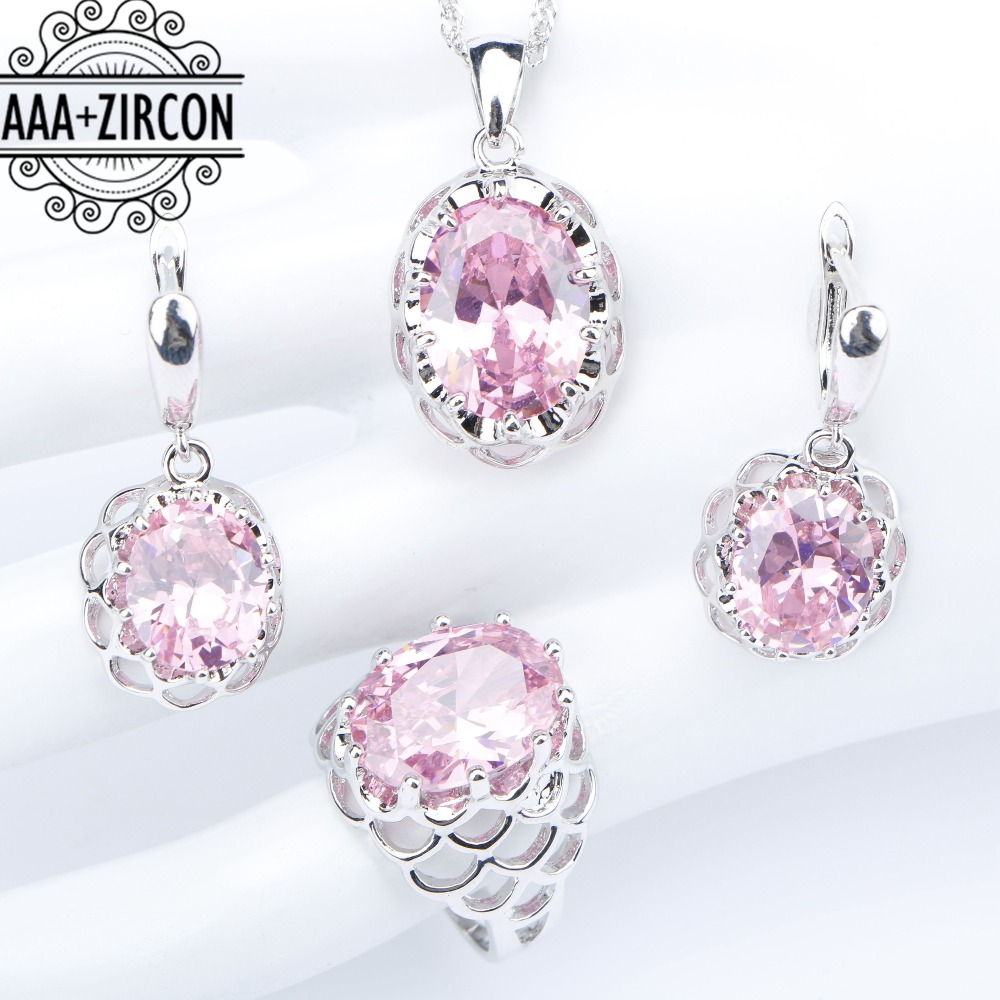 все цены на 925 Sterling Silver Women Bridal Jewelry Sets Pink Zircon Necklaces Pendants Rings Earrings With Stones Set of Jewelery Gift Box