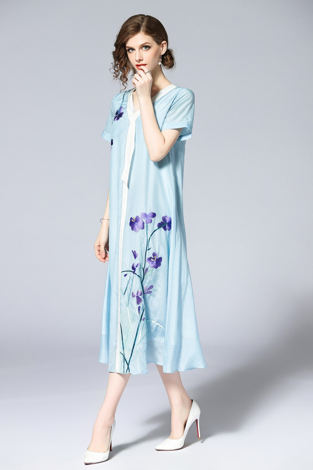 Free shipping Summer original design A Version Chinese style Hit color flower Embroidered big size dress for women - 2