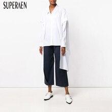 SuperAen 2019 ยุโรปแฟชั่นผู้หญิงเสื้อสีทึบสบายๆเสื้อและเสื้อหญิงฤดูใบไม้ผลิใหม่