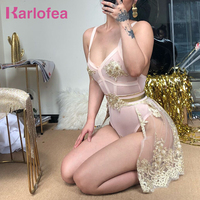 Karlofea New Women Cute Outfit Set Luxury Gold Sexy Bodysuit And Mini Skirt Appliques Beading Birthday Party Slim Two Piece Set