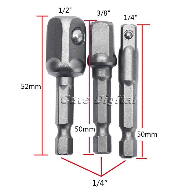 """DRELD jeu d'adaptateurs de douilles en acier, Vanadium 3 pièces, outils pour le travail du bois tige hexagonale à mèches de rallonge de 1/4 """"3/8"""" 1/2 """", outil électrique de foret"""