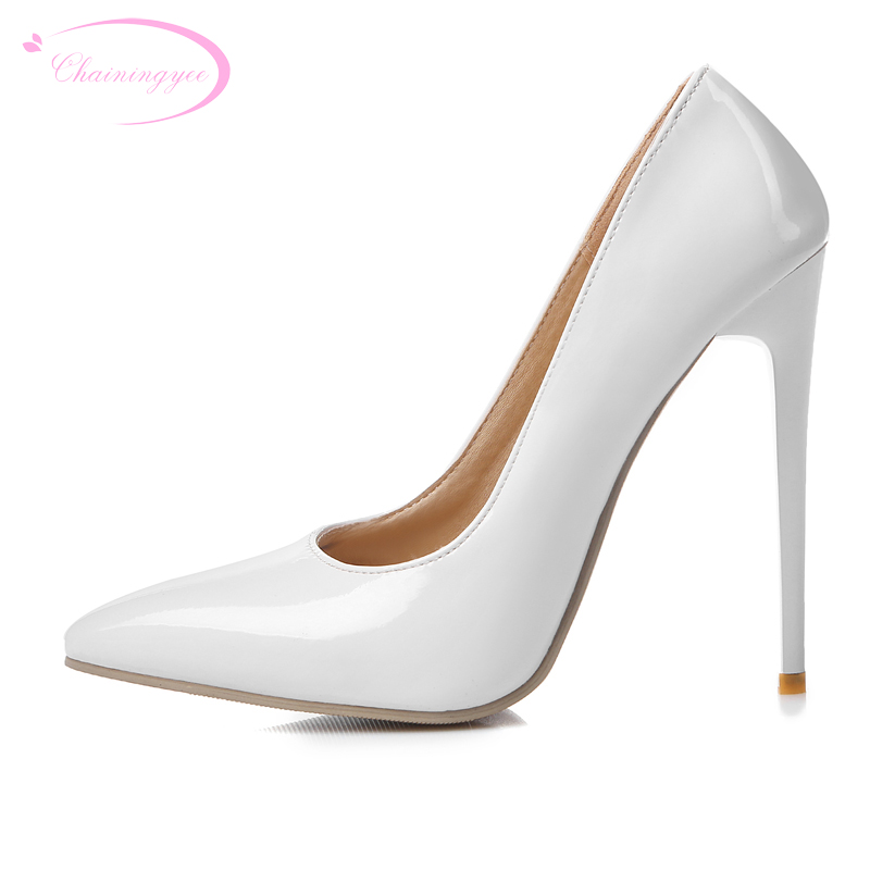 Chainingyee party style <font><b>sexy</b></font> pointed toe patent so kate pumps slip-on <font><b>high</b></font>-<font><b>heeled</b></font> stiletto women's shoes big size <font><b>22cm</b></font>~28.5cm image