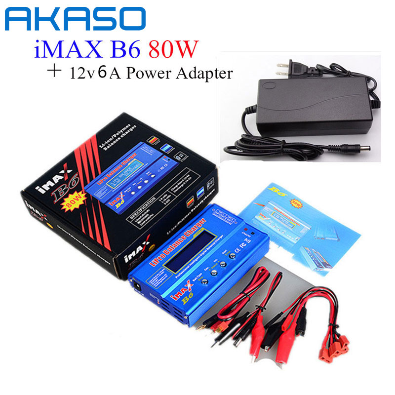 AKASO Battery Lipro Balance Charger iMAX B6 charger Lipro Digital Balance Charger + 12v 5A Power Adapter + Charging Cables wireless headphones bluetooth earphone with mic gaming headset headphones bluetooth for android iphone samsung smartphone tablet