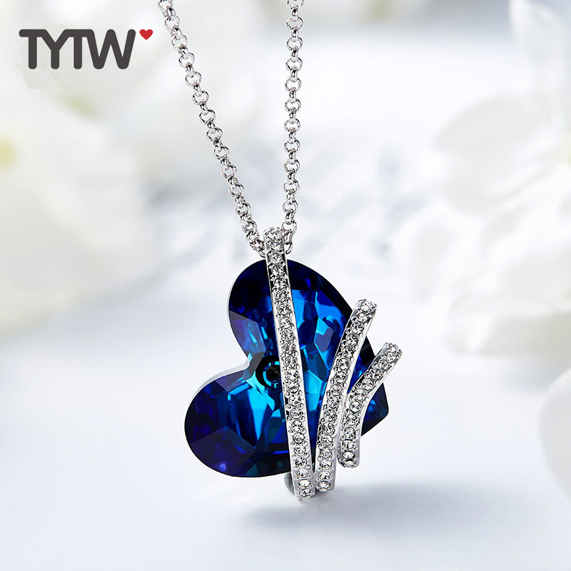 TYTW Shiny Ocean Heart Crystals From Austrian Women Necklaces Chic Fashion Jewelry Blue Party Pendant Necklace Elegant Choker