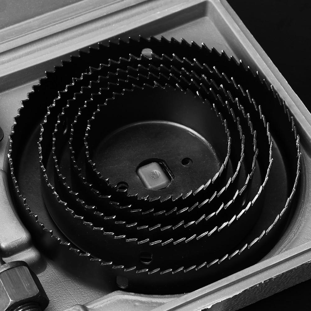 Купить с кэшбэком 19-126mm Metal Hole Saw Set Cutting Tool Case Wood Cutter Wrench Mandrels Saws Core Drill Bits Kit Woodworking Combinat