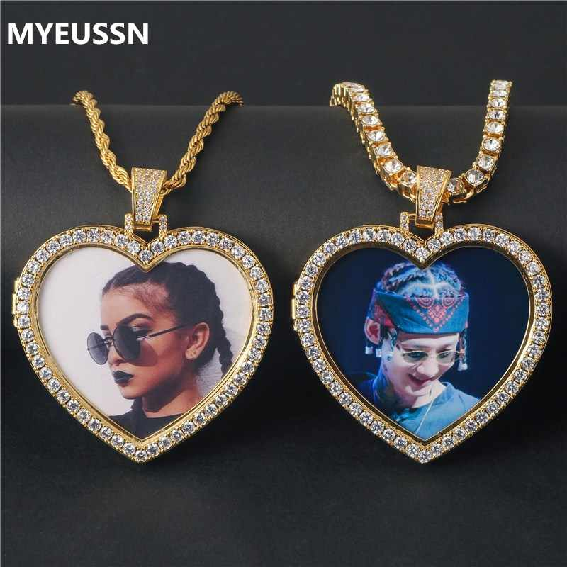 Custom Necklace&Pendant Men Iced Out Cubic Zircon Copper Tennis Chain Photo Necklaces Heart Shape Medallions Hip Hop Jewelry