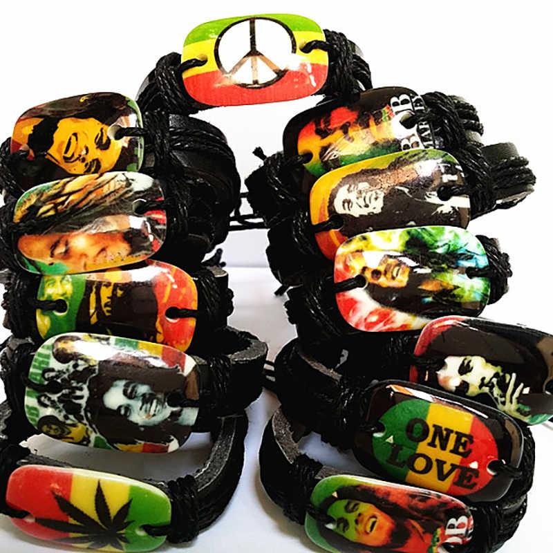 41f353ac2b8a Novedad unids 24 piezas Bob Marley Cuff pulseras Jamaica Reggae Rasta pu  cuero pulsera venta al