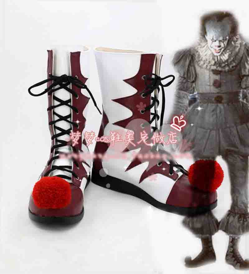 New Arrival Stephen King's It Pennywise Cosplay Costume Shoes cosplay shoes Boots Custom Made Halloween Free Shipping