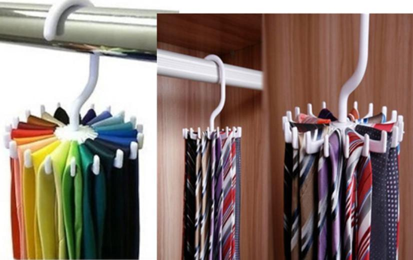 New 2016 Adjule Rotating 20 Hook Neck Ties Organizer Men Tie Rack Hanger Holder