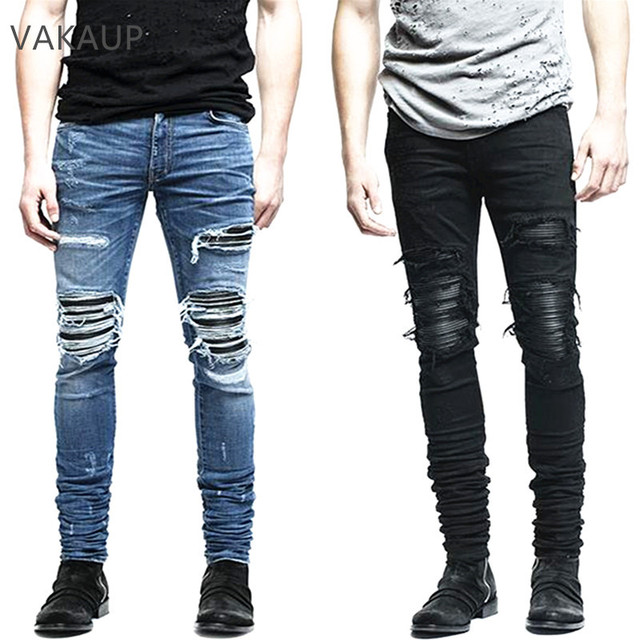 bf913d68cc0a New Mens denim pants clothing zipper skinny biker jeans men slim fit justin  bieber jean Vintage ripped blue denim men jeans man