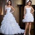 Elegante Strapless Vestido de Noiva de Renda 2 Duas Peças Destacáveis Saia de Luxo Beading Tribunal Trem Vestidos de Casamento Robe De Mariage 2017